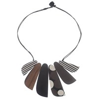 One Button 6 Mixed Flat Facets Necklace Multi