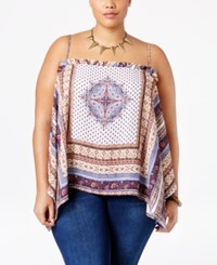 American Rag Trendy Plus Size Scarf Top Only At Macy's Egret Combo