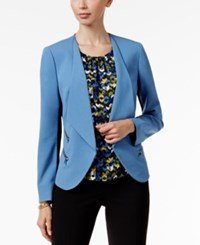 Nine West Draped Zip Pocket Blazer Space Blue