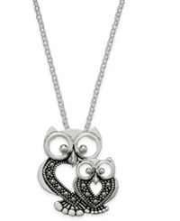 Macy's Marcasite Owl Pendant Necklace In Silver Plate