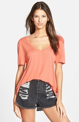 Leith Deep V Tee Coral Apple