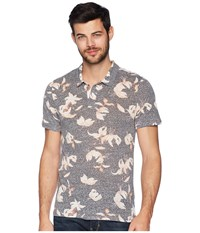 Threads For Thought 4 Dune Polo Falling Lillies Short Sleeve Pullover Gray