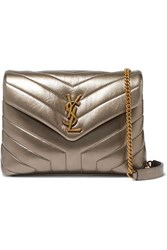 Saint Laurent Loulou Metallic Quilted Leather Shoulder Bag Gold