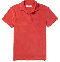 Orlebar Brown Slim Fit Cotton Terry Polo Shirt Red