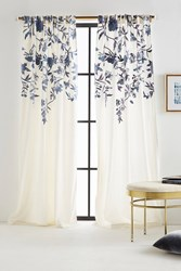 Anthropologie Embroidered Isa Curtain Grey Motif