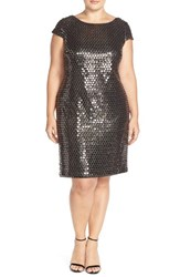 Plus Size Women's Adrianna Papell Sequin Cap Sleeve Shift Dress