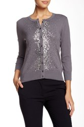 Cable And Gauge Scattered Sequins Cardigan Gray
