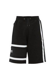 Givenchy Logo Embroidered Striped Cotton Shorts Black White