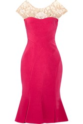 Marchesa Notte Embroidered Tulle Paneled Stretch Crepe Dress Magenta