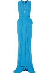 Thakoon Draped Satin Crepe Gown Blue