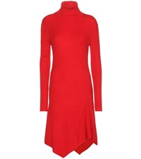 Balenciaga Wool Silk And Cashmere Blend Knitted Turtleneck Dress Red