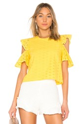 Endless Rose Eyelet Cold Shoulder Top Lemon