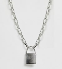 Glamorous Exclusive Silver Chunky Chain Necklace With Padlock Gold