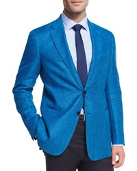 Armani Collezioni Houndstooth Linen Wool Two Button Sport Coat Turquoise