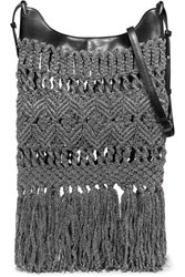 Isabel Marant Teomia Fringed Metallic Crocheted And Leather Shoulder Bag Silver
