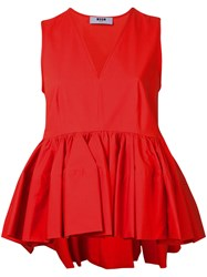 Msgm Ruffle Detail Top Red