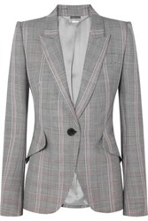 Alexander Mcqueen Prince Of Wales Checked Wool Blazer Gray