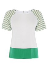 Karen Millen Stripy Sleeve Tee Multicolour