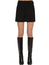 Red Valentino Tailored Stretch Gabardine Shorts Black