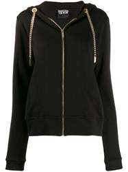 Versace Jeans Couture Chain Drawstring Zipped Hoodie Black