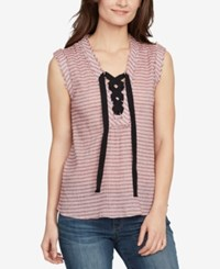 William Rast Cotton Striped Lace Up Top Anemone Marseilles Stripe