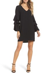 Charles Henry Tiered Ruffle Sleeve Dress Black