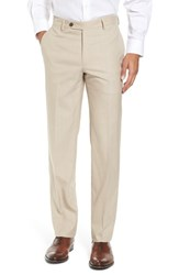 Berle Men's Flat Front Stretch Solid Wool Trousers Tan