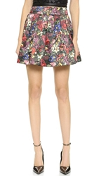 Alice Olivia Fizer Box Pleat Skirt English Floral All Over