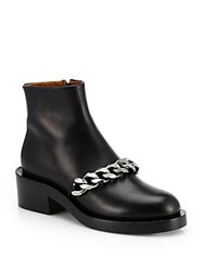 Givenchy Laura Chained Leather Motorcycle Ankle Boots Black