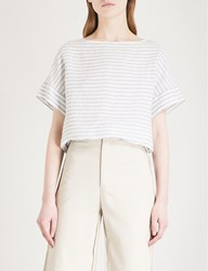 The White Company Striped Boat Neck Linen T Shirt Eucalyptus