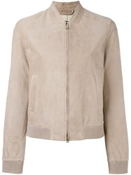 Herno Zipped Leather Jacket Nude Neutrals