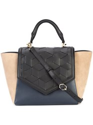 Welden Block Panel Textured Winged Tote Women Leather One Size Taupe