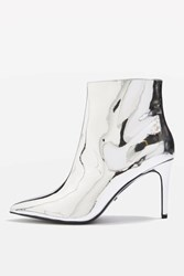 Topshop Mimosa Metallic Ankle Boots Silver