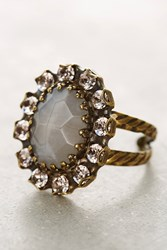 Anthropologie Elliptic Crystal Cocktail Ring Pink