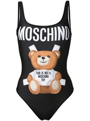 Moschino Bear Print Swimsuit Black