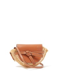 Loewe Gate Mini Leather And Raffia Cross Body Bag Tan Multi