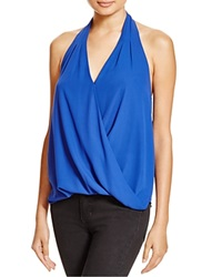 Aqua Draped Crossover Halter Top