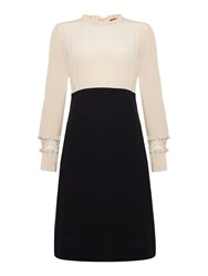 Max Mara Piroga Longsleeve Shift Dress With Ruffle Detail Black