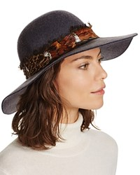 Aqua Feather Trim Floppy Hat Dark Gray