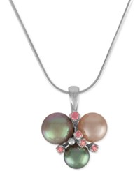 Majorica Sterling Silver Pink Cubic Zirconia And Colored Imitation Pearl Pendant Necklace Multi