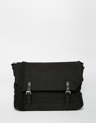 Asos Satchel With Faux Leather Base And Trims Black