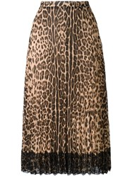 Red Valentino Leopard Print A Line Skirt Black