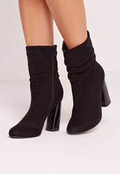 Missguided Rouched Flared Heel Ankle Boots Black Black