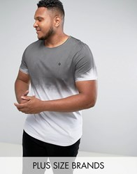 Noose And Monkey Plus Longline Muscle Fit T Shirt With Sprayed Ombre Gray