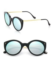 Illesteva Palm Beach 50Mm Round Sunglasses Black Gold