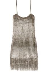 Rachel Zoe Della Fringed Open Knit Mini Dress Silver