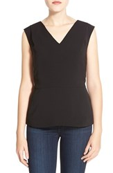 Petite Women's Halogen V Neck Peplum Top Black