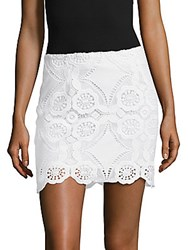 Saks Fifth Avenue Scalloped Lace Skirt White