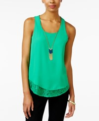 Amy Byer Bcx Juniors' Sleeveless Lace Hem Necklace Blouse Green