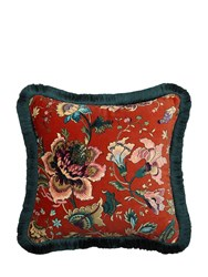 House Of Hackney Medium Majorelle Cotton Velvet Pillow Red Multi